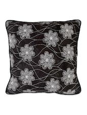 Set Of 5 Floral Printed Black Cushion Covers - Desi Connection