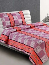 Multicolor Square-Printed Cotton Single Bedsheet - Desi Connection