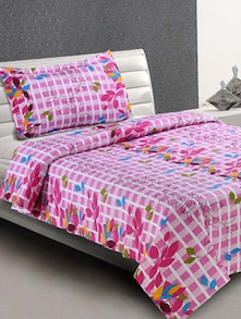 Pink Printed Everyday Cotton Single Bedsheet - Desi Connection