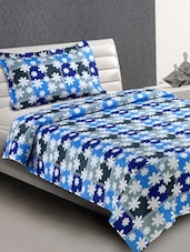 Multicolor Floral Print Cotton Single Bedsheet - Desi Connection