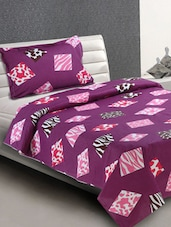Purple Animal Print Blocks Cotton Single Bedsheet - Desi Connection