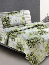 White & Green Floral Cotton Single Bedsheet - Desi Connection