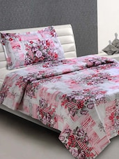 White & Pink Floral Cotton Single Bedsheet - Desi Connection