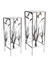 Silver Metal Curio Tables (Set Of 2) - Inspired Livingg