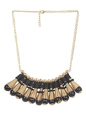Black & Golden Woven Pattern Looped Neckpiece - Supriya