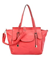 Feminine Pink Faux Leather Bag - ADISA