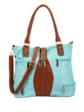Blue Faux Leather Handbag - ADISA - 1007058