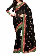Black Embroidered Chiffon Saree - Ambaji