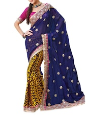 Dark Blue And Yellow Embroidered Chiffon Saree - Ambaji