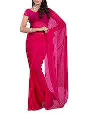 Solid Dark Pink Georgette Saree - Ambaji