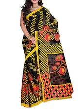 Black & Yellow Floral Printed Georgette Saree - Ambaji