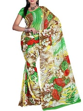 Multicolored Floral Printed Dani Georgette Saree - Ambaji