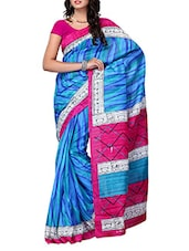 Blue & Pink  Striped Bhagalpuri Silk Saree - Ambaji