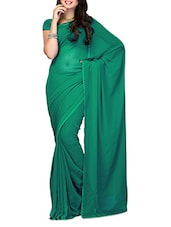Green Plain Chiffon Saree - Ambaji