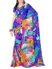 Blue & Multicolor Abstract Print Georgette Saree - Ambaji