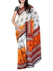 White And Orange Printed Georgette Saree - Ambaji