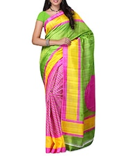 Pink & Green Striped Bhagalpuri Silk Saree - Ambaji