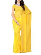 Plain Yellow Georgette Saree - Ambaji