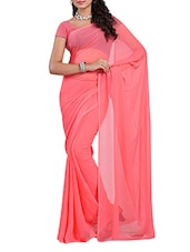 Peachy Pink Plain Georgette Saree - Ambaji