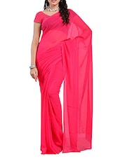 Dark Pink Plain Georgette Saree - Ambaji