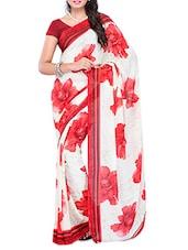 White & Red Big Floral Printed Georgette Saree - Ambaji