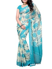 White & Sky Blue Floral Georgette Saree - By