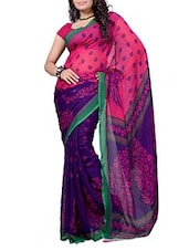 Blue & Pink Printed Georgette Saree - Ambaji