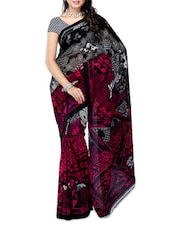 Black , Pink Georgette Saree - Ambaji