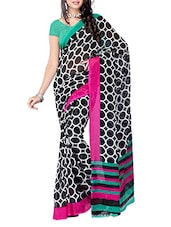 Multi Color Geometric Printed Georgette Saree - Ambaji