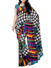 Multi Color Checks Renial Georgette Saree - Ambaji