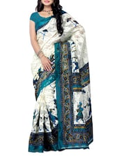 White & Teal Blue  Printed Jacquard Saree - Ambaji