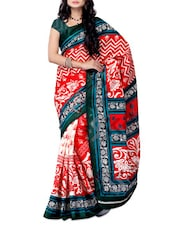 Red & White Printed Jacquard Saree - Ambaji
