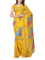 Yellow Color Floral Printed Weightless Georgette Saree - Ambaji