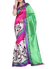 Multi Color Printed Super Net Saree - Ambaji