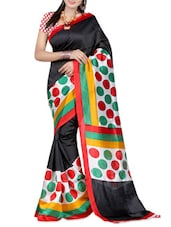 Multi Color Polka Dot Supernet Saree - Ambaji