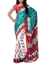 Multi Color Paisley Printed Jacquard Saree - Ambaji