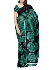 Checks Printed Green & Black Georgette Saree - Ambaji