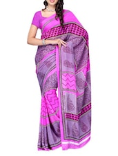 Printed Purple & Pink Georgette Saree - Ambaji
