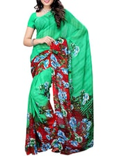 Multi Color Floral Print Saree - Ambaji