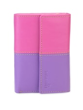 Pink & Purple Color Block Pocket Wallet - BUTTERFLIES