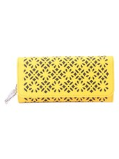 Yellow Floral Pattern Cut Work Wallet - BUTTERFLIES
