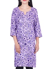 Purple,blue Cotton Regular Kurta - By