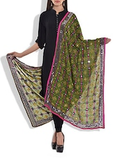 Green Chanderi Silk Phulkari Dupatta - By