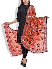 Orange Chanderi Silk Phulkari Dupatta - By