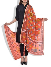 Orange Poly Georgette Phulkari Dupatta - By - 10083072