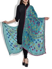 Blue Poly Georgette Phulkari Dupatta - By