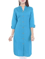 Turquoise Blue Cotton Long  Kurta - By