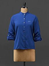 Royal Blue Hi-Low Crepe Shirt - Stykin