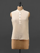 Pale Peach Hi-low Sleeveless Crepe Top - Stykin