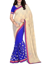 Royal Blue And Cream Jacquard Chiffon Saree - Manvaa
